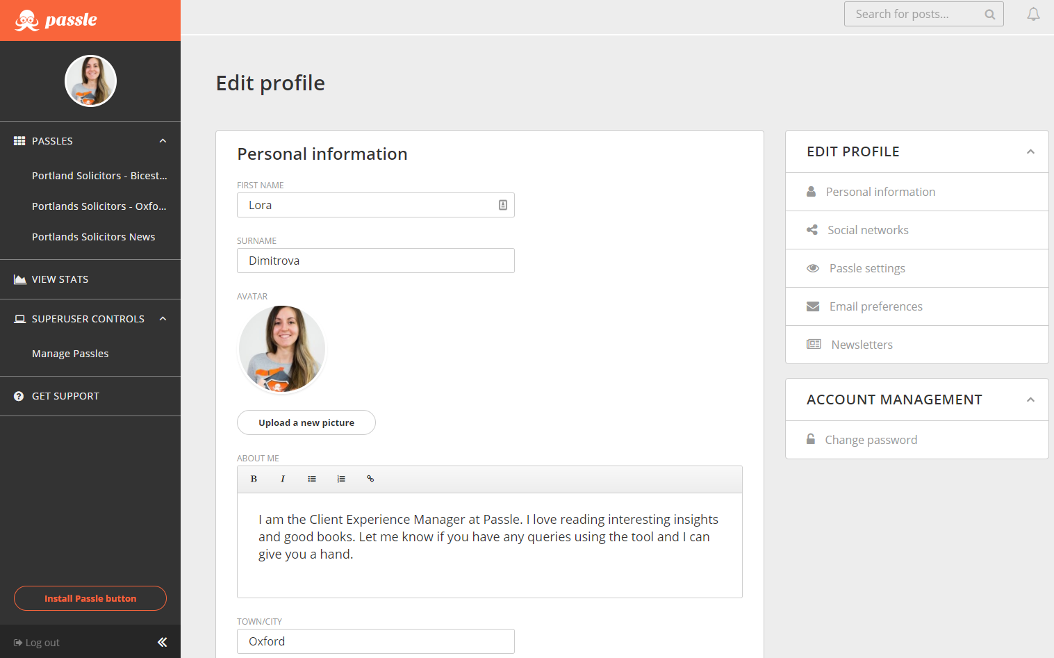 How to update the info on your personal profile