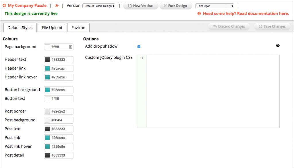 Passle default styles tab