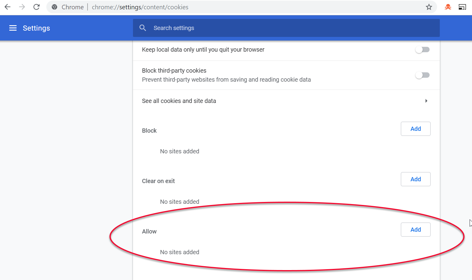 Chrome cookie settings - Allow text field