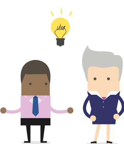 Mixed race businessman presenting an idea to a client