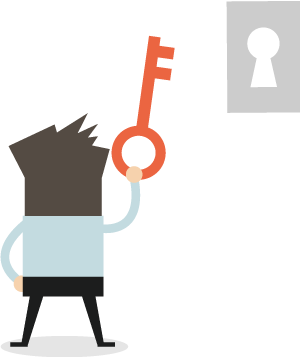 Businessman Clive holding a single key in front of keyhole
